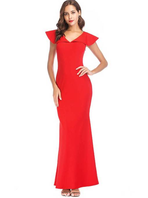 V Neck Plain Bodycon Women's Maxi Dress