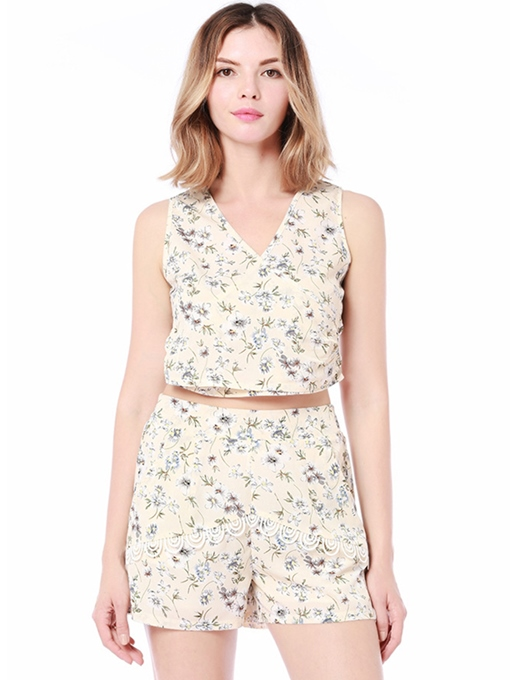 Floral Print Crop Top and Shorts Women's Two Piece Set