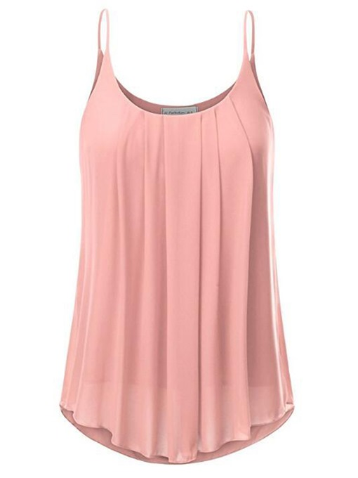 Pleated Loose Solid Color Women's Tank Top