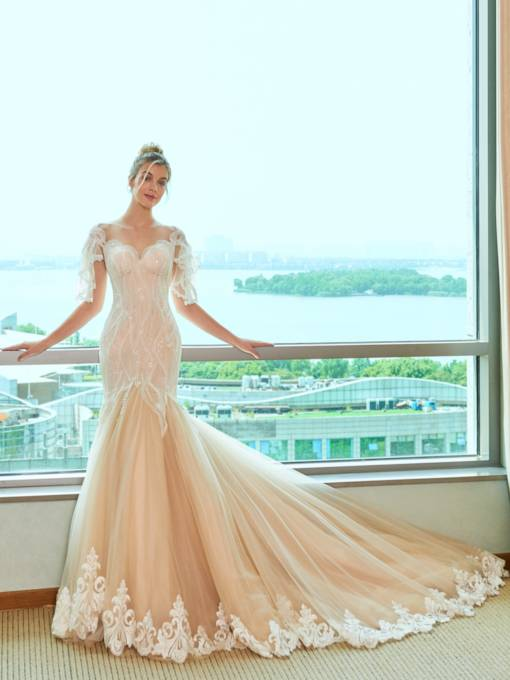 Illusion Jewel Neck Lace Appliques Mermaid Wedding Dress