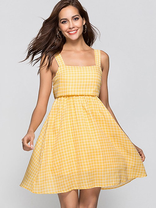 Yellow Back Knot Plaid Women's Day Dress