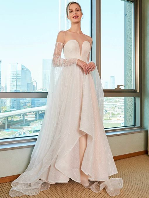 Sheer Neck Lace Wedding Dress with Long Sleeve