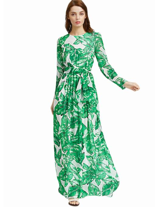 Green Long Sleeve Lace up Women's Maxi Dress
