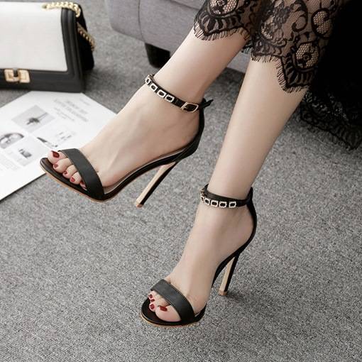 Open Toe Line-Style Buckle High Heel Sandals for Women