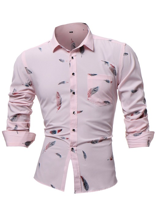 Lapel Feather Color Slim Plain Men's Shirt