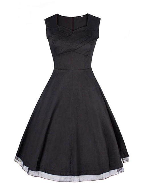 Black Square Neck Tiered Women's Day Dress