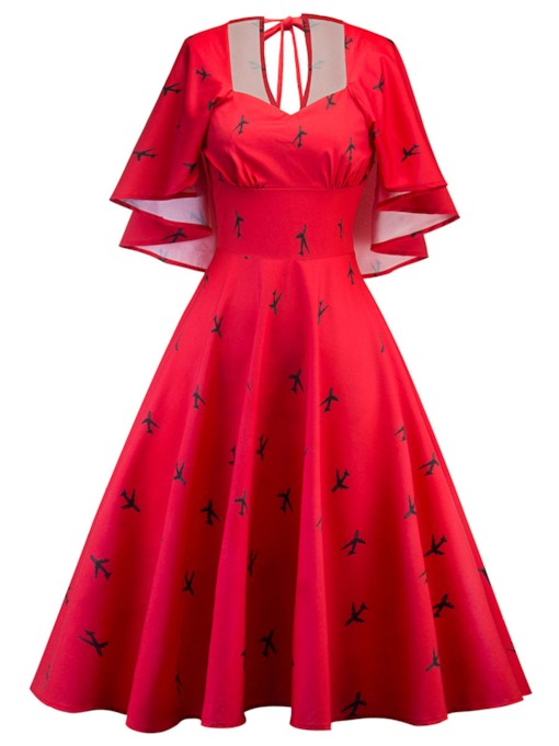 Red Airplane Pattern Women's Day Dress