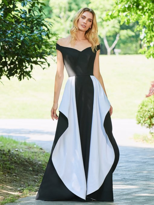 A-Line Empire Ruffles Off-the-Shoulder Evening Dress