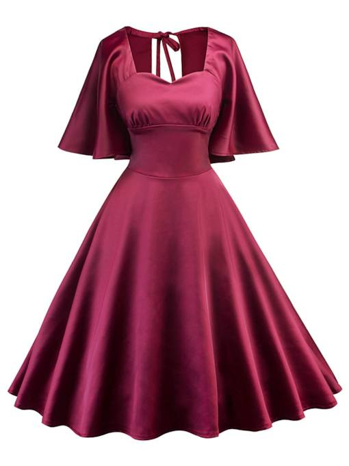 Burgundy Square Neck Backless Women's Day Dress