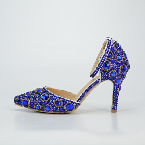 Royal Blue Stiletto Heel Pointed Toe Rhinestone Wedding Shoes