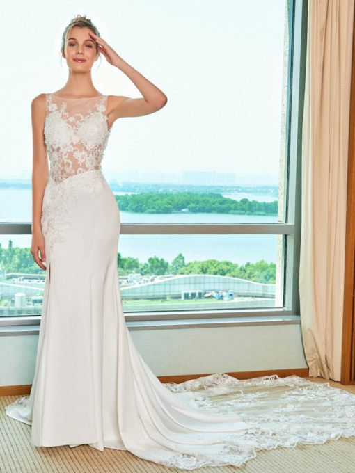 Appliques Split-Front Mermaid Wedding Dress with Train