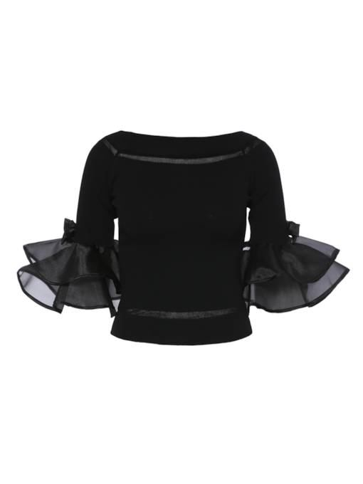 Boat Neck Ruffle Sleeve Women's Blouse