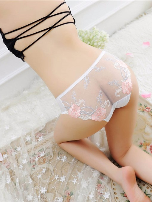Embroidery Floral Mesh Sexy Panty