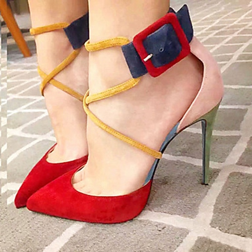 Color Block Pointed Toe Buckle Stiletto Heel Womne's Pumps