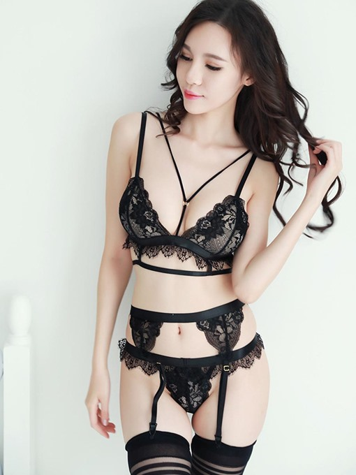 Three-Point Swallowtail See-Through Sexy Bra Set