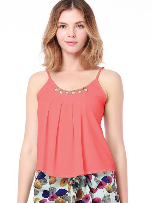 Faux Diamond Straps Pleated Women's Tank Top