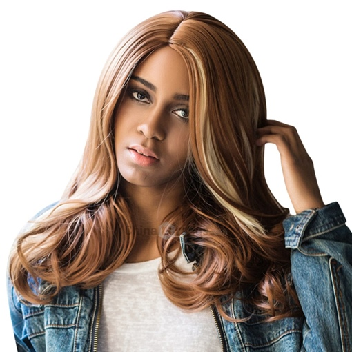 Dark Brown Big Wavy Synthetic Hair Capless Wig 20 Inches