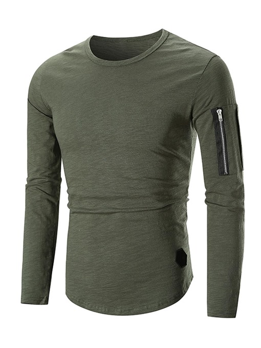 Zipper Patchwork Solid Color Slim Men's T-Shirt