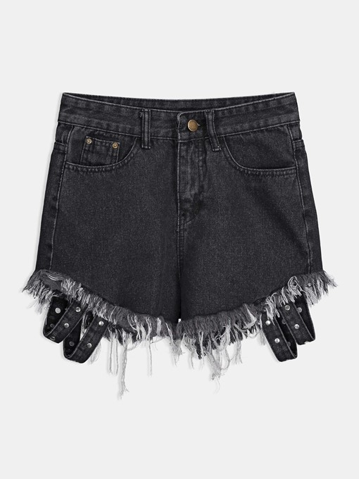 Denim Hole High Waist Women's Shorts