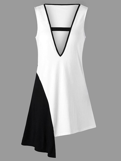 Asymmetric Color Block Plunge Women's Tank Top