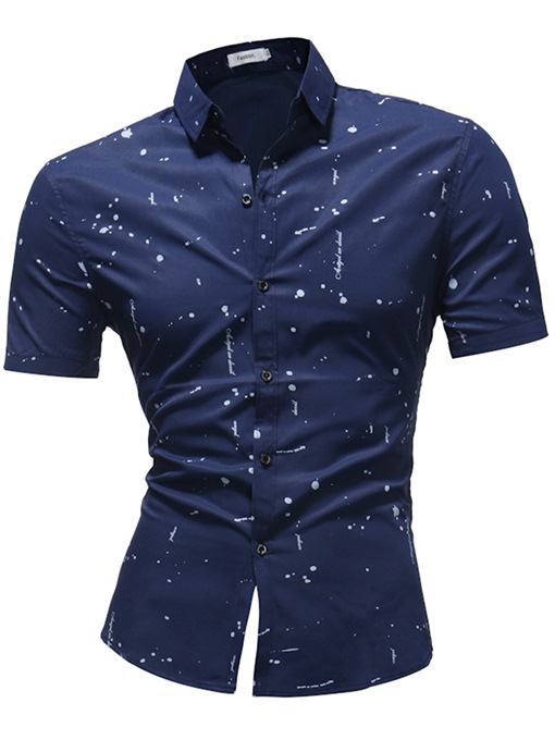 Lapel Splash-Ink Plain Men's Shirt