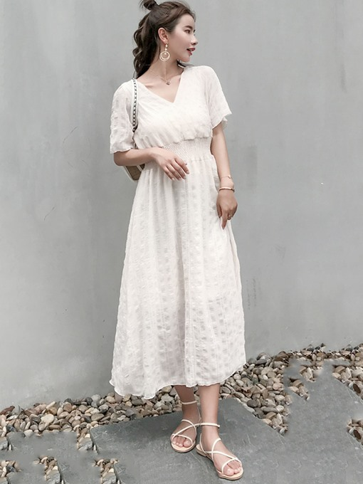 Plain Mid-Calf High Waist Maxi Dress