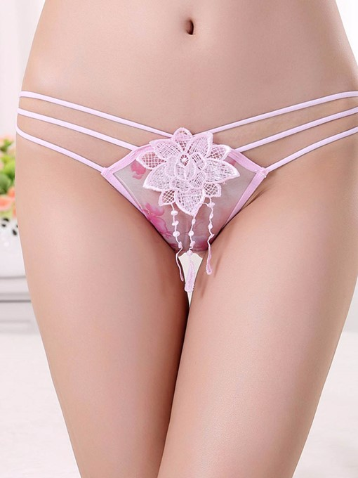 Floral Rose Print Tassel Low Waist Sexy Panty