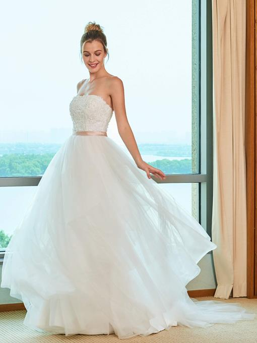 Strapless Sashes Beading Appliques Wedding Dress
