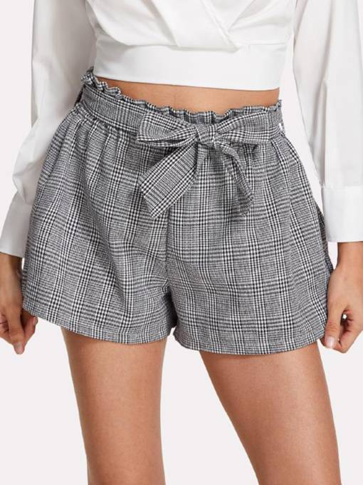 Tie Front Houndstooth Women's Shorts