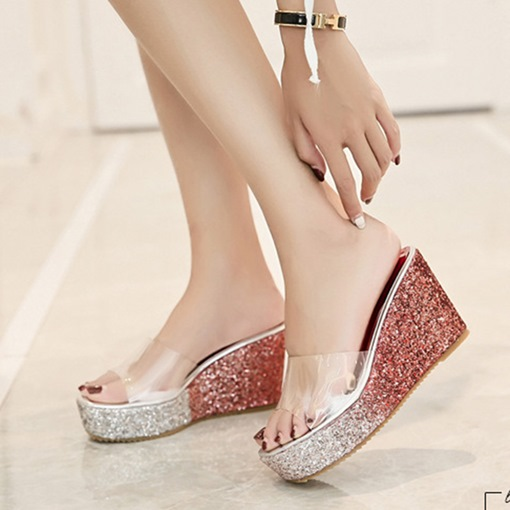 Sequin Wedge Heel Gradient Flip Flop for Women