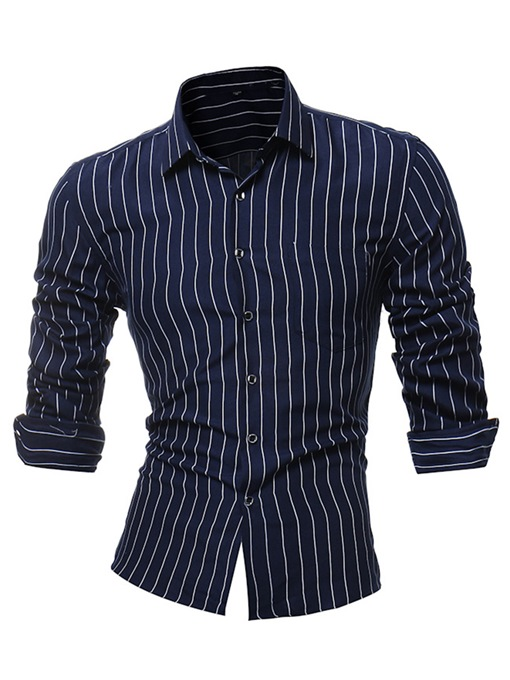 Lapel Stripe Classic Slim Men's Shirt