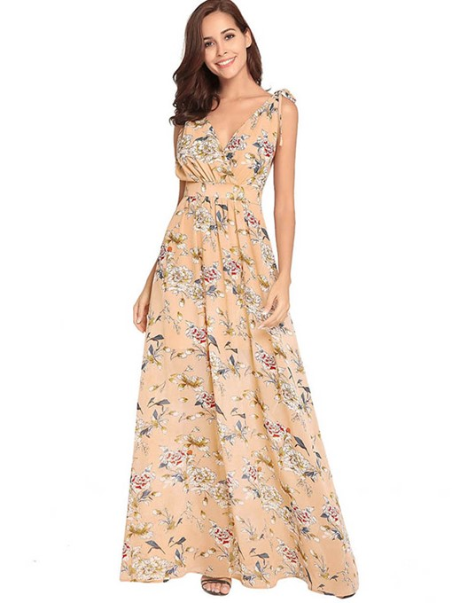 Summer Prints Floral Backless Maxi Dress