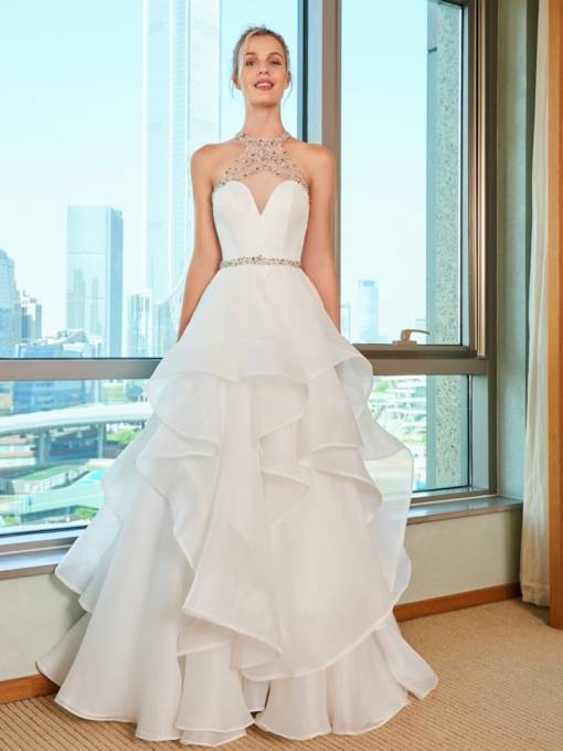 Beaded Halter Cascading Ruffles Wedding Dress
