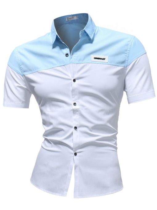 Lapel Badge Plain Men's Leisure Shirt
