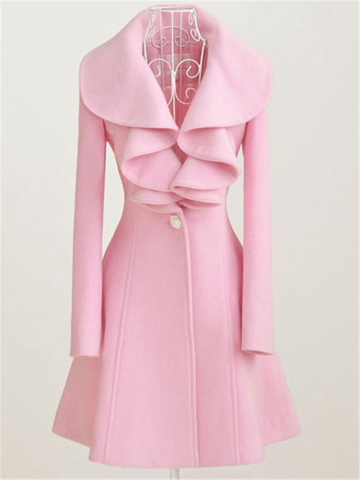 Solid Color Falbala Lapel Sweet Women's Overcoat