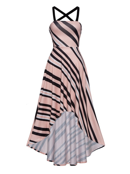 Pink Bandage Asym Women's Maxi Dress