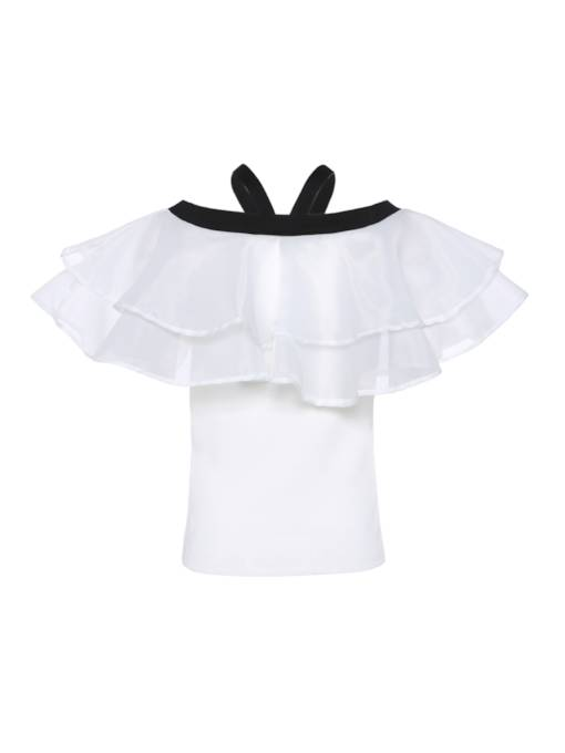 Off Shoulder Frill Pure Color Women's Blouse