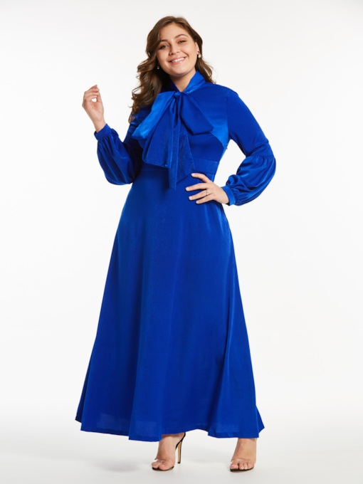 Plus Size Plain Lantern Sleeve Women's Maxi Dress