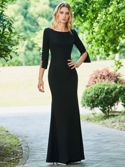 Sheath Scoop Beaded Floor-Length Evening Dress