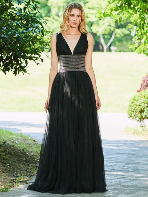 A-Line V-Neck Empire Floor-Length Evening Dress
