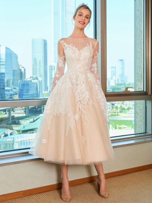 Lace Tea-Length Beach Wedding Dress with Long Sleeve