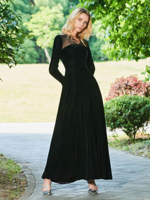 A-Line Velvet Long Sleeves V-Neck Evening Dress