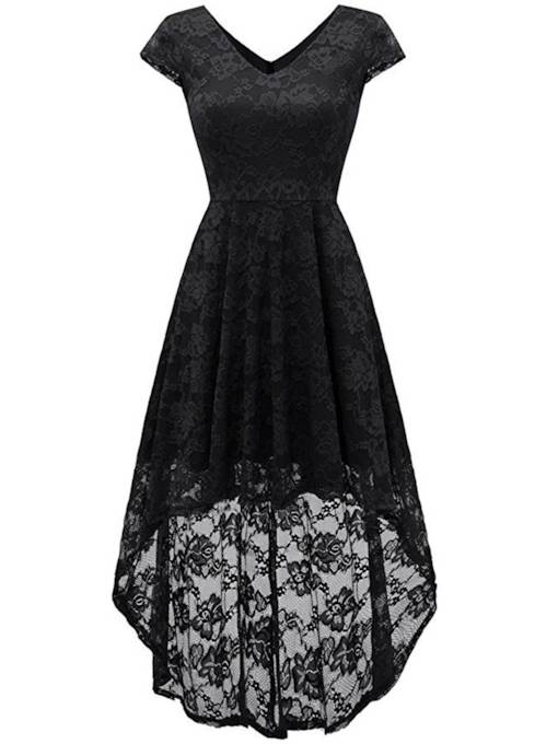 Cap Sleeve Asym Women's Lace Dress