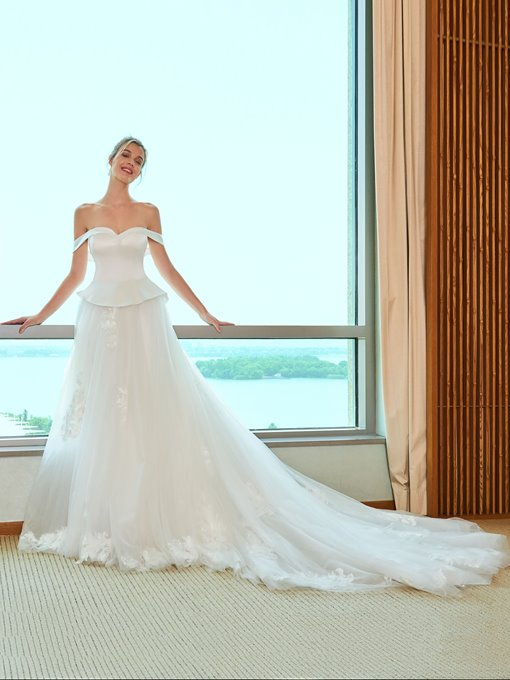 Ruffles Appliques Off the Shoulder Wedding Dress