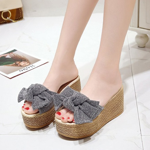 Bow Platform Wedge Heel Women's Summer Flip Flop