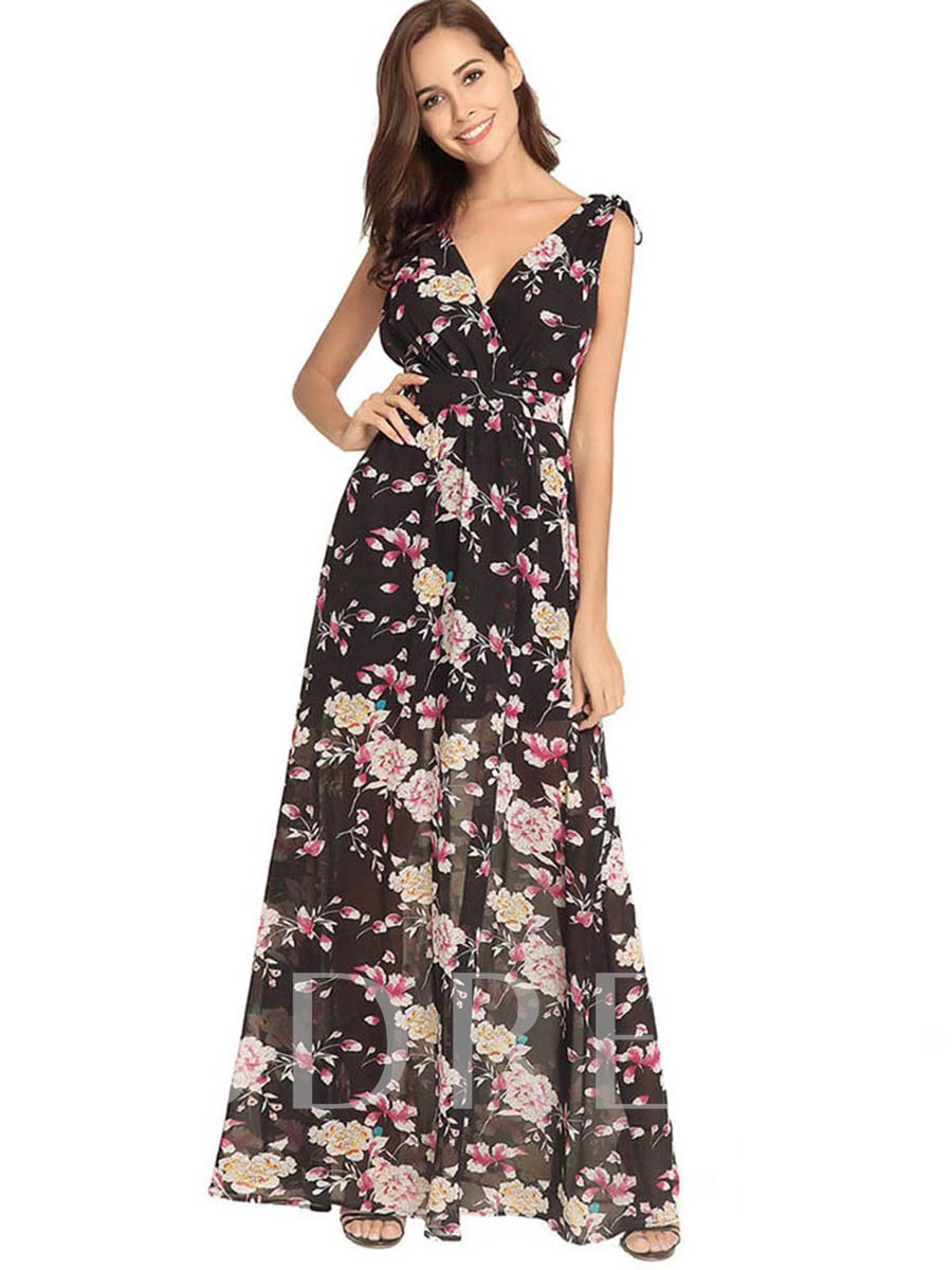 Buy Summer Prints Floral Backless Maxi Dress, Summer, 13295477 for $20.96 in TBDress store