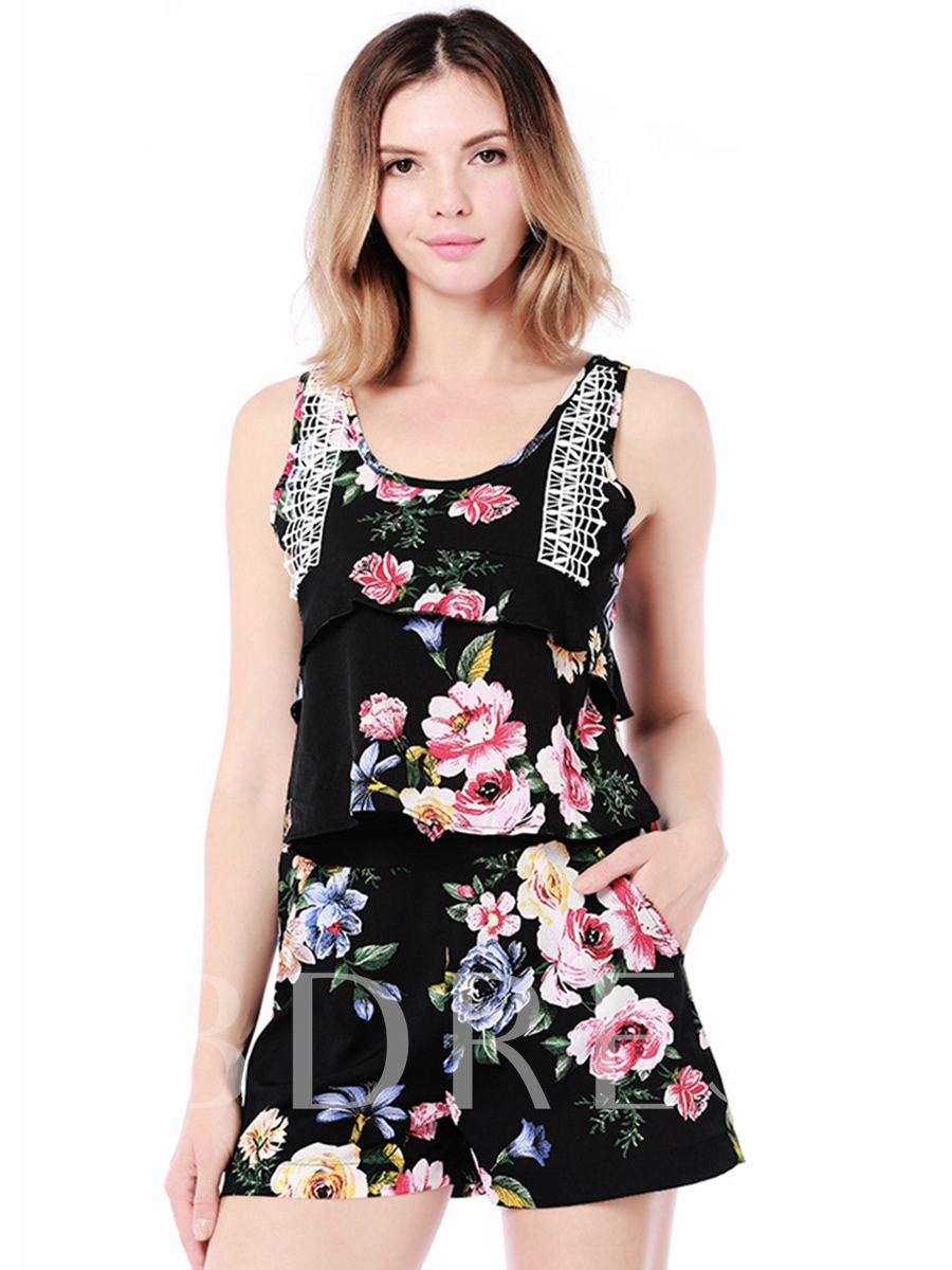 Floral Print High Waist Women's Two Piece Set, Summer, 13308431
