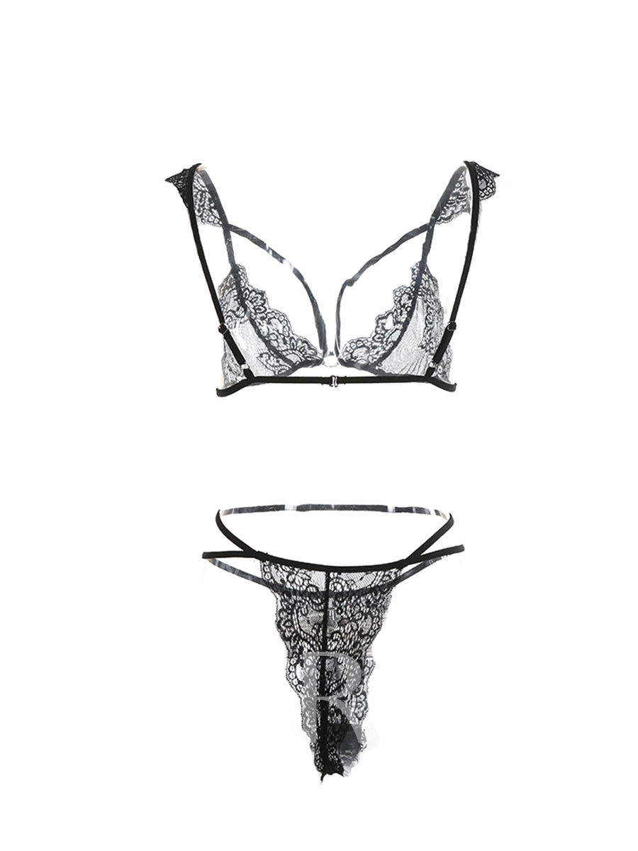 Sexy Lace Crocheted Plunge Criss-Cross Hollow Bra Set