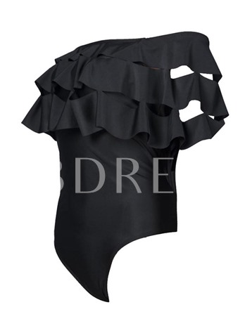 Off the Shoulder Black Plain Ruffles Pleated One Piece Bathing Suits