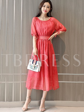 Summer Half Sleeve Mesh Lace-Up Day Dress